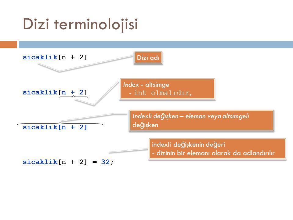 Dizi terminolojisi sicaklik[n + 2] sicaklik[n + 2] = 32; Dizi adı